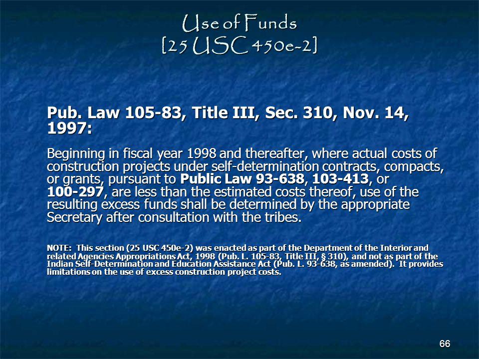 Use of Funds [25 USC 450e-2] Pub. Law 105‑83, Title III, Sec. 310, Nov. 14, 1997: